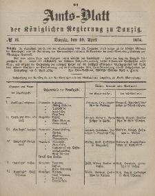 Amts-Blatt der Königlichen Regierung zu Danzig, 18. April 1874, Nr. 16