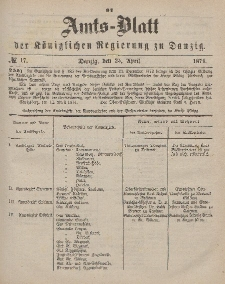 Amts-Blatt der Königlichen Regierung zu Danzig, 25. April 1874, Nr. 17