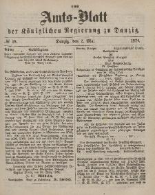 Amts-Blatt der Königlichen Regierung zu Danzig, 2. Mai 1874, Nr. 18