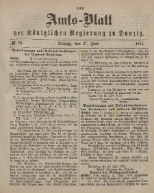Amts-Blatt der Königlichen Regierung zu Danzig, 27. Juni 1874, Nr. 26