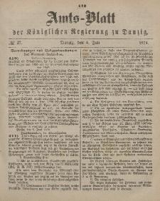 Amts-Blatt der Königlichen Regierung zu Danzig, 4. Juli 1874, Nr. 27