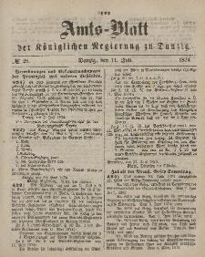 Amts-Blatt der Königlichen Regierung zu Danzig, 11. Juli 1874, Nr. 28