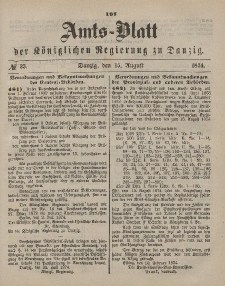 Amts-Blatt der Königlichen Regierung zu Danzig, 15. August 1874, Nr. 33