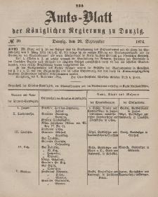 Amts-Blatt der Königlichen Regierung zu Danzig, 26. September 1874, Nr. 39