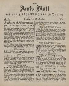 Amts-Blatt der Königlichen Regierung zu Danzig, 17. Oktober 1874, Nr. 42