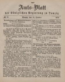 Amts-Blatt der Königlichen Regierung zu Danzig, 31. Oktober 1874, Nr. 44