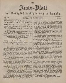 Amts-Blatt der Königlichen Regierung zu Danzig, 7. November 1874, Nr. 45
