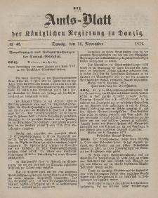Amts-Blatt der Königlichen Regierung zu Danzig, 14. November 1874, Nr. 46