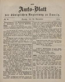 Amts-Blatt der Königlichen Regierung zu Danzig, 28. November 1874, Nr. 48