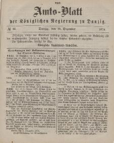 Amts-Blatt der Königlichen Regierung zu Danzig, 19. Dezember 1874, Nr. 51