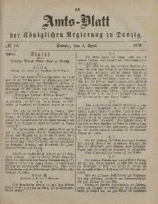 Amts-Blatt der Königlichen Regierung zu Danzig, 1. April 1876, Nr. 14