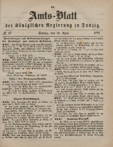Amts-Blatt der Königlichen Regierung zu Danzig, 22. April 1876, Nr. 17
