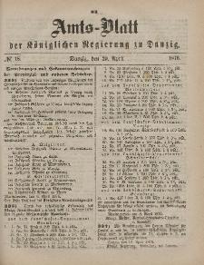 Amts-Blatt der Königlichen Regierung zu Danzig, 29. April 1876, Nr. 18