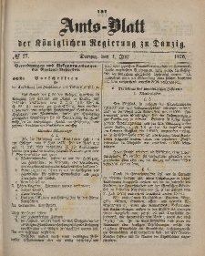 Amts-Blatt der Königlichen Regierung zu Danzig, 1. Juli 1876, Nr. 27