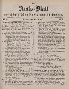 Amts-Blatt der Königlichen Regierung zu Danzig, 19. August 1876, Nr. 34