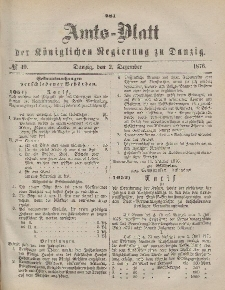Amts-Blatt der Königlichen Regierung zu Danzig, 2. Dezember 1876, Nr. 49