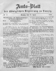Amts-Blatt der Königlichen Regierung zu Danzig, 27. April 1878, Nr. 17