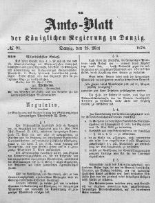 Amts-Blatt der Königlichen Regierung zu Danzig, 25. Mai 1878, Nr. 21