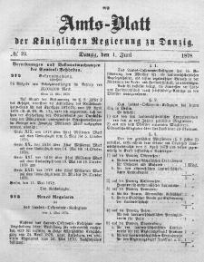 Amts-Blatt der Königlichen Regierung zu Danzig, 1. Juni 1878, Nr. 22