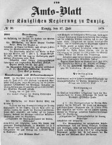 Amts-Blatt der Königlichen Regierung zu Danzig, 27. Juli 1878, Nr. 30