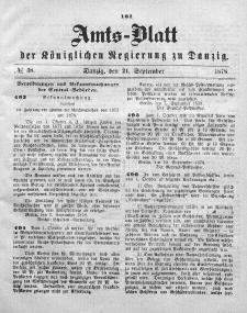 Amts-Blatt der Königlichen Regierung zu Danzig, 21. September 1878, Nr. 38