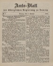 Amts-Blatt der Königlichen Regierung zu Danzig, 4. Januar 1873, Nr. 1