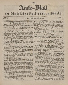 Amts-Blatt der Königlichen Regierung zu Danzig, 22. Februar 1873, Nr. 8