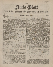 Amts-Blatt der Königlichen Regierung zu Danzig, 5. April 1873, Nr. 14