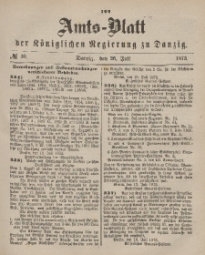 Amts-Blatt der Königlichen Regierung zu Danzig, 26. Juli 1873, Nr. 30