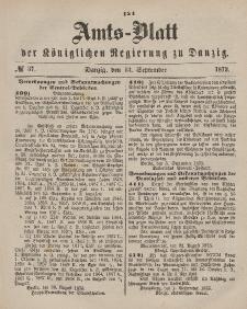 Amts-Blatt der Königlichen Regierung zu Danzig, 13. September 1873, Nr. 37
