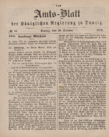 Amts-Blatt der Königlichen Regierung zu Danzig, 25. Oktober 1873, Nr. 43