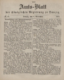 Amts-Blatt der Königlichen Regierung zu Danzig, 8. November 1873, Nr. 45