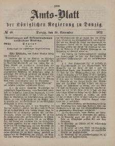 Amts-Blatt der Königlichen Regierung zu Danzig, 29. November 1873, Nr. 48