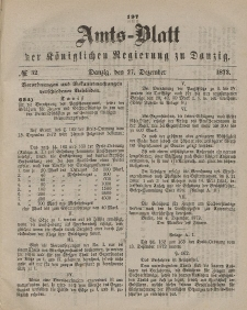 Amts-Blatt der Königlichen Regierung zu Danzig, 27. Dezember 1873, Nr. 52