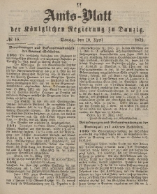Amts-Blatt der Königlichen Regierung zu Danzig, 10. April 1872, Nr. 15