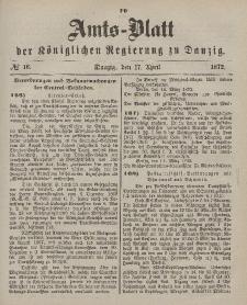 Amts-Blatt der Königlichen Regierung zu Danzig, 17. April 1872, Nr. 16