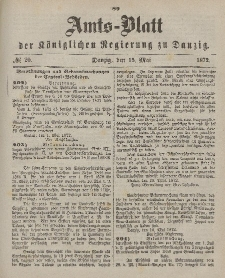 Amts-Blatt der Königlichen Regierung zu Danzig, 15. Mai 1872, Nr. 20