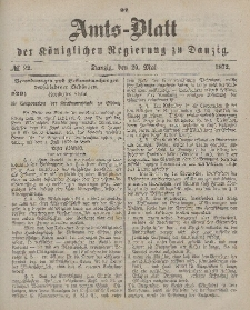 Amts-Blatt der Königlichen Regierung zu Danzig, 29. Mai 1872, Nr. 22