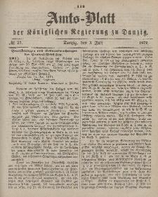 Amts-Blatt der Königlichen Regierung zu Danzig, 3. Juli 1872, Nr. 27