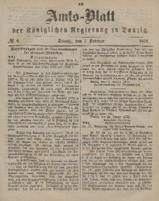 Amts-Blatt der Königlichen Regierung zu Danzig, 7. Februar 1872, Nr. 6