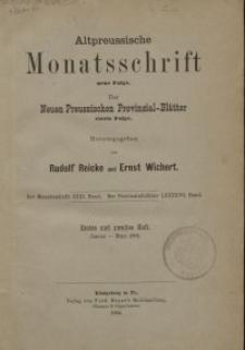 Altpreussische Monatsschrift, 1894, Januar-März, Bd. 31