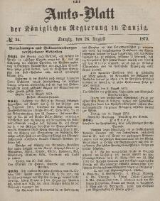 Amts-Blatt der Königlichen Regierung zu Danzig, 24. August 1872, Nr. 34