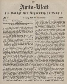 Amts-Blatt der Königlichen Regierung zu Danzig, 14. September 1872, Nr. 37