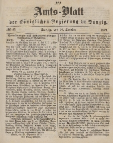 Amts-Blatt der Königlichen Regierung zu Danzig, 26. Oktober 1872, Nr. 43