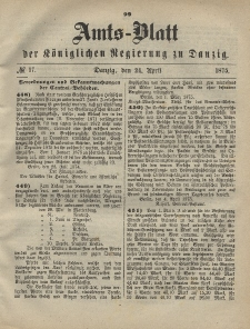 Amts-Blatt der Königlichen Regierung zu Danzig, 24. April 1875, Nr. 17