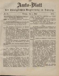 Amts-Blatt der Königlichen Regierung zu Danzig, 1. Mai 1875, Nr. 18