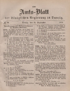 Amts-Blatt der Königlichen Regierung zu Danzig, 25. September 1875, Nr. 39