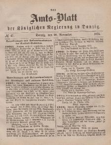 Amts-Blatt der Königlichen Regierung zu Danzig, 20. November 1875, Nr. 47
