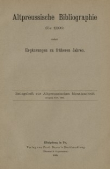 Altpreussische Monatsschrift, 1893, Beilageheft, Bd. 30