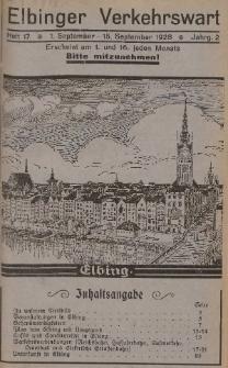 Elbinger Verkehrswart, Heft 17, 1. September - 15. September 1928, 2 Jahrg.